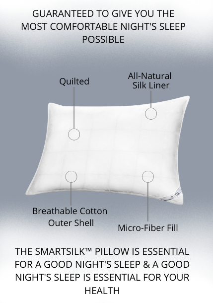 Guaranteed to give you comfortable night's sleep possible. The smartsilk™ pillow is essential for a good night's sleep & a good night's sleep is essential for your health.
